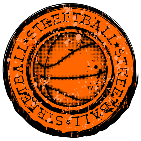 Vector illustration inscription streetball with basketball ball for t-shirt design Illustration