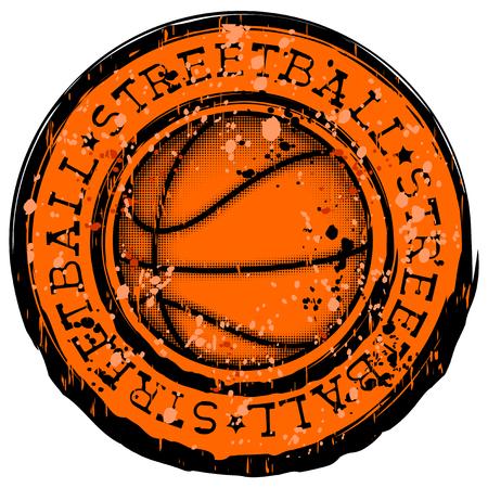 baller: Vector illustration inscription streetball with basketball ball for t-shirt design Illustration