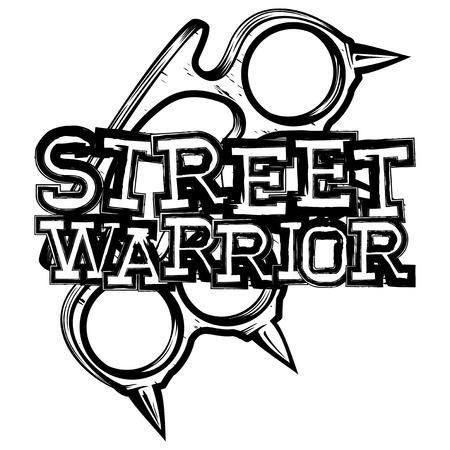 Vector illustration brass knuckle. Inscription street warrior. For tattoo or t-shirt design.