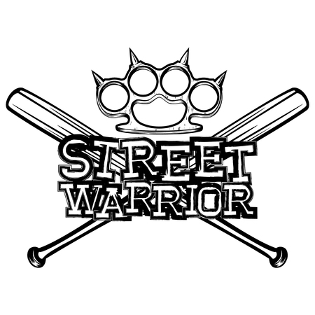 Vector illustration crossed bats and brass knuckle. Inscription street warrior. For tattoo or t-shirt design. Illustration