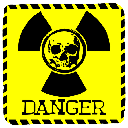 toxicity: Vector illustration square yellow symbol radiation to skull with lettering danger