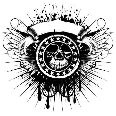 Vector illustration stamp with abstract skull and stars on wings and grunge background