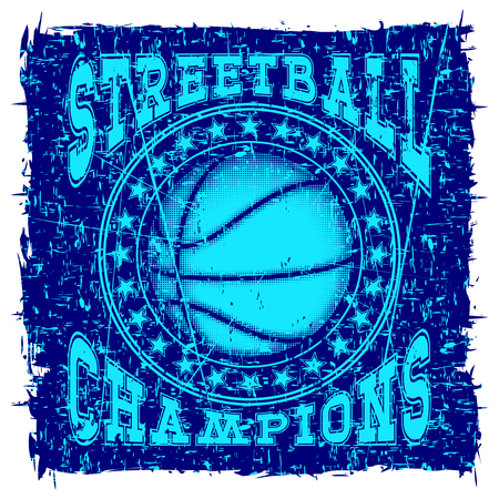 baller: Vector illustration basketball ball on grunge background and inscription streetball champions for t-shirt design Illustration