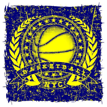 Vector illustration inscription basketball with basketball ball for t-shirt design Illustration