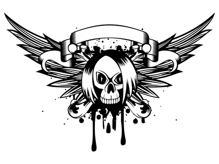 Vector illustration emo skull with crossed bones and wings on grunge background. For t-shirt design.