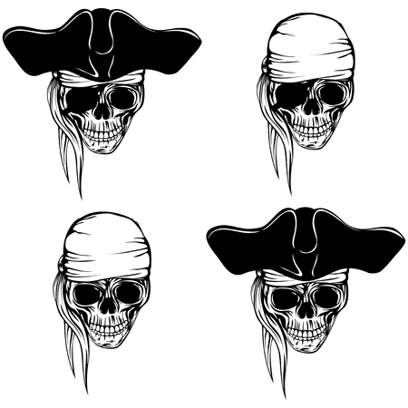 Vector illustration pirate skull bandana or cocked hat set