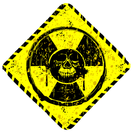 toxicity: Abstract vector illustration rhombic grunge yellow sign radiation to skull with lettering danger