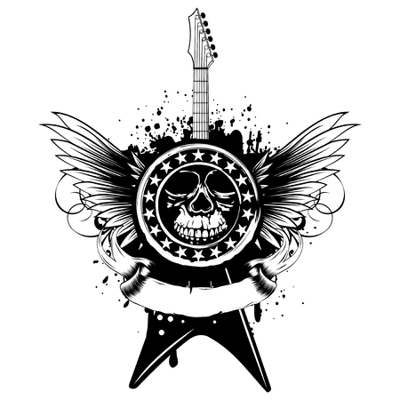 Vector illustration stamp with skull  and electric guitar on wings and grunge background. Hard rock sign. Design for t-shirt or poster print