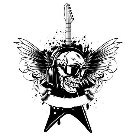 Vector illustration skull and guitar on grunge background. Skull with sunglasses and earphone. Design rock and roll sign for t-shirt or poster print