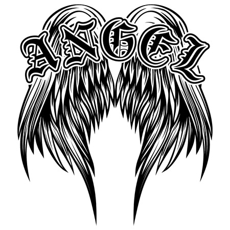 gothic style: Abstract vector illustration black and white wings and inscription angel in the Gothic style. Design for tattoo or print t-shirt .