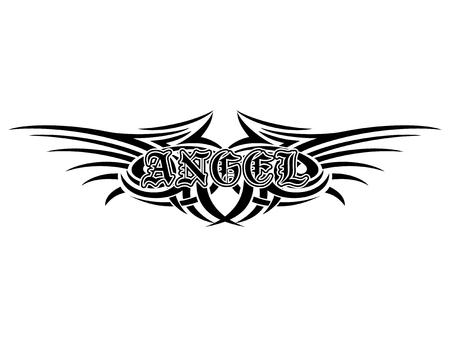 Illustrazione vettoriale astratta in bianco e nero tribali ali e angelo di iscrizione in stile gotico. Design per t-shirt o stampa t-shirt. Archivio Fotografico - 78178946