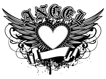 Résumé illustration vectorielle cadre coeur noir et blanc avec des étoiles sur l'aile. Inscription ange dans le style gothique. Design pour tatouage ou t-shirt imprimé.