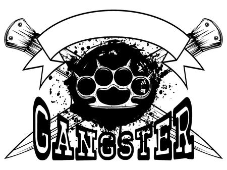 Vector Illustration Schlagring auf gekreuzten Dolchen und Grunge-Hintergrund. Aufschrift Gangster. Für Tätowierung oder T-Shirt Design. Vektorgrafik