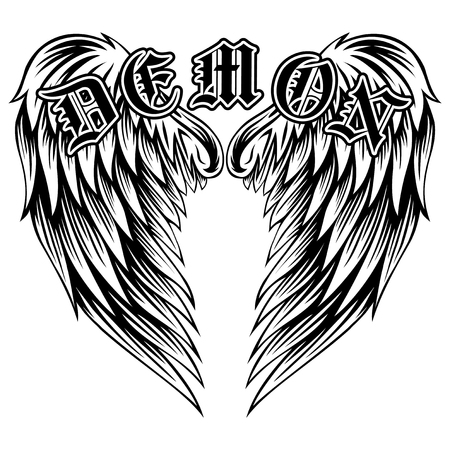 gothic style: Abstract vector illustration black and white wings and inscription demon in the Gothic style. Design for tattoo or print t-shirt . Illustration
