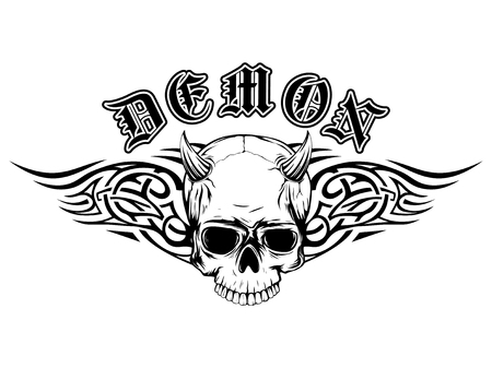 fallen: Abstract vector illustration black and white horned skull with tribal wings. Inscription demon in the Gothic style. Design for tattoo or print t-shirt . Illustration