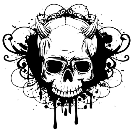 Abstract vector illustration black and white skull demon with horns on grunge patterns. Design for tattoo or print t-shirt .