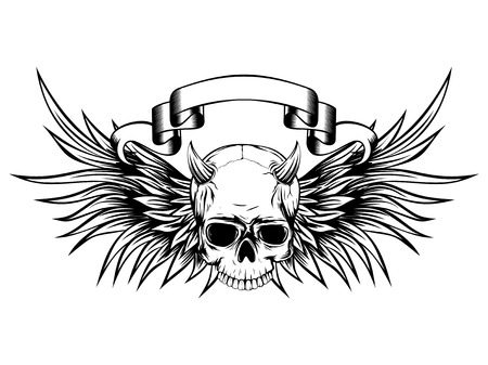 gothic style: Abstract vector illustration black and white horned skull demon with wings. Design for tattoo or print t-shirt .