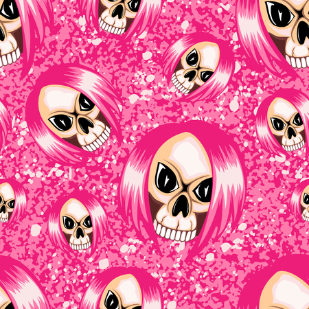 Vector illustration cartoon pink emo girl skull with hair on grunge background. Seamless background. For t-shirt design or print on textile.