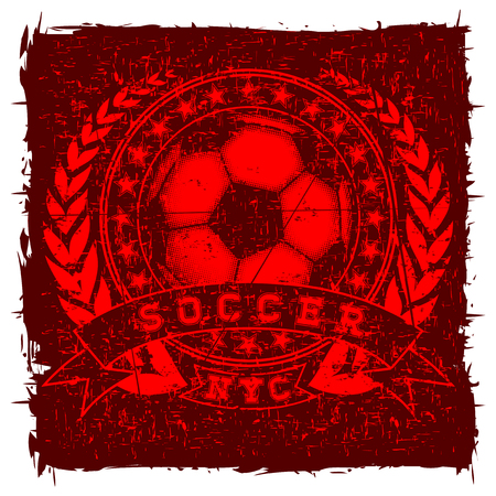 Abstract vector illustration scratched red football bal, stars, wreath and inscription soccer. Design for print on fabric or t-shirt.