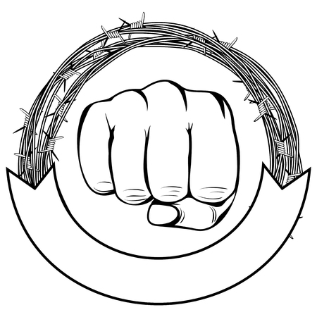 Vector illustration barbed wire and fist. For tattoo or t-shirt design.