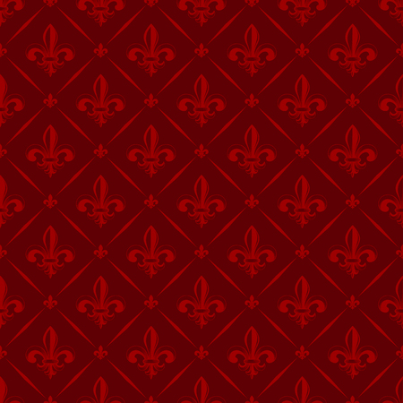 fleurdelis: Vector illustration red seamless background with lily (fleur de lys) for print fabric or poster Illustration