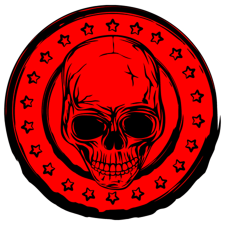 Vector illustration red old dirty round stamp with stars  and abstract grunge skull