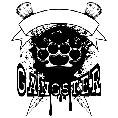 Vector illustration brass knuckle on crossed daggers and grunge background. Inscription gangster. For tattoo or t-shirt design. Illustration