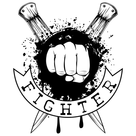 Vector illustration fist on crossed knifes and grunge background. Inscription fighter. For tattoo or t-shirt design.