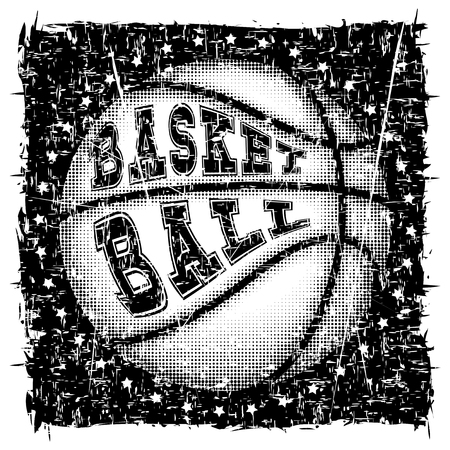 Vector illustration basketball ball and inscription basketball for t-shirt design