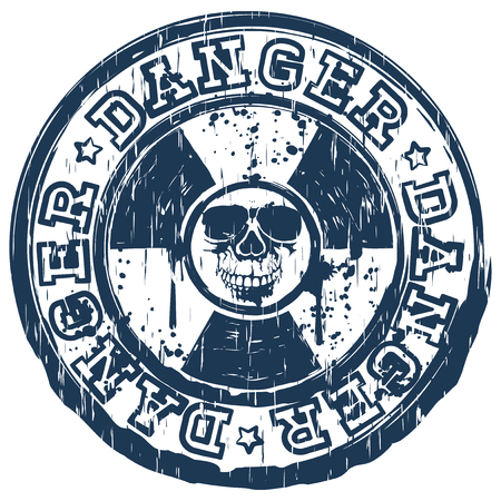 Vector illustration blue stamp with radioactivity sign and lettering danger. In center of radiation symbol abstract grunge skull
