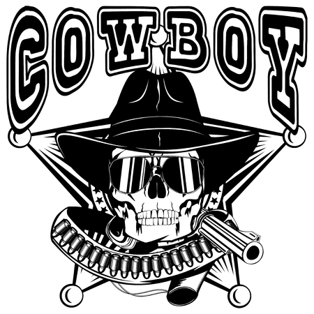 lawman: Vector illustration cowboy skull with sunglasses in hat and revolver on sheriff star. Lettering cowboy.