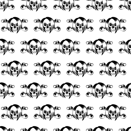 black hair girl: Vector illustration cartoon black emo girl skull with hair and crossed bones on white background. Seamless background. For t-shirt design or print on textile. Illustration