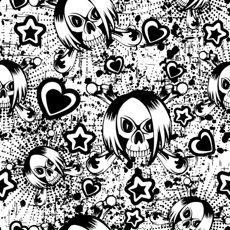 black hair girl: Vector illustration cartoon emo girl skull with hair and  crossed bones. Hearts and stars. Seamless black and white background. For t-shirt design or print on textile.