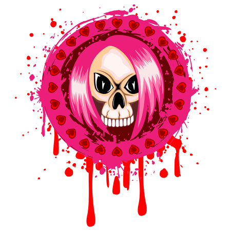 Vector illustration emo girl skull with hair and hearts on grunge background. For t-shirt design.