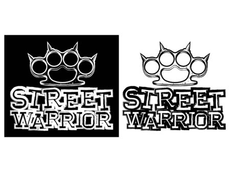 Vektor-Illustration Messing Knöchel. Inschrift Straßenkrieger. Für Tattoo oder T-Shirt Design. Vektorgrafik