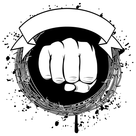 Vector illustration barbed wire and fist. For tattoo or t-shirt design. Imagens - 78423582