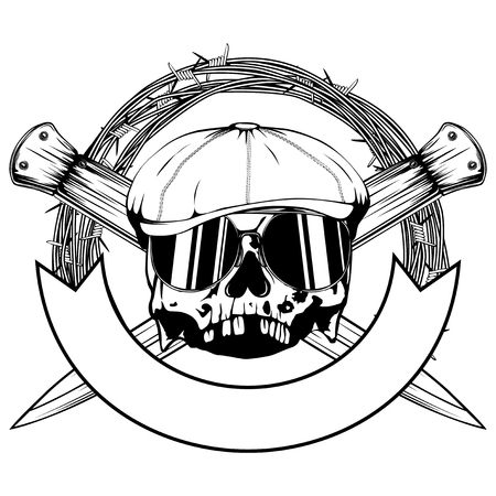 Vector illustration skull in cap with sunglasses and two crossed daggers. For tattoo or t-shirt design.