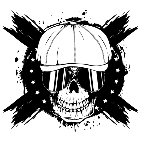 Vector illustration skull in cap with sunglasses on grunge background. For tattoo or t-shirt design.