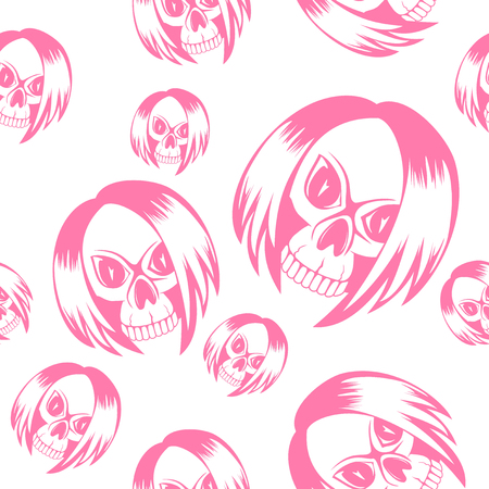Vector illustration cartoon pink emo girl skull with hair on white background. Seamless background. For t-shirt design or print on textile. Illustration