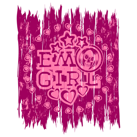 Vector illustration pink shabby inscription emo girl with stars and hearts on purple background and skull with hair. Design for print on t-shirt.