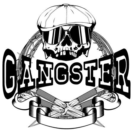 temperino: Illustrazione vettoriale cranio in berretto con occhiali da sole e coltelli incrociati sul filo spinato. Gangster di iscrizione. Per il disegno del tatuaggio o della maglietta.