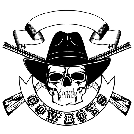 Vector illustration skull in cowboy hat and crossed rifles. Lettering cowboys. Illustration