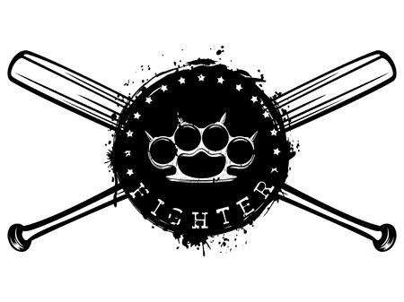 Vektor-Illustration gekreuzt Baseballschläger und Hand mit Messing Knöchel auf Grunge Hintergrund. Inschrift Kämpfer. Für Tätowierung oder T-Shirt Design.