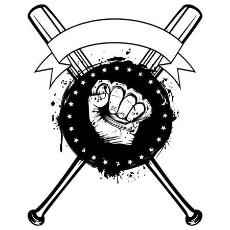 Vektor-Illustration gekreuzt Baseballschläger und Hand mit Messing Knöchel auf Grunge Hintergrund. Für Tätowierung oder T-Shirt Design. Vektorgrafik