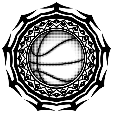 Abstract vector illustration black and white basketball ball on round ornament. Design for tattoo or print t shirt.