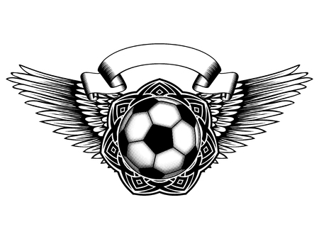 Abstract vector illustration black and white football (soccer) ball on round ornament and wings. Design for tattoo or print t shirt.