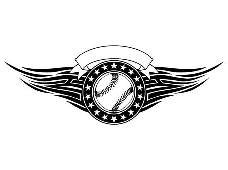 Abstract vector illustration black and white baseball ball with tribal wings. Design for tattoo or print t-shirt.