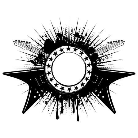 logo music: Vector illustration guitars and frame on grunge background