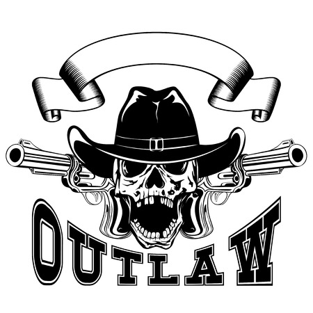 Vector illustration cowboy skull in hat and two revolvers. Lettering outlaw.