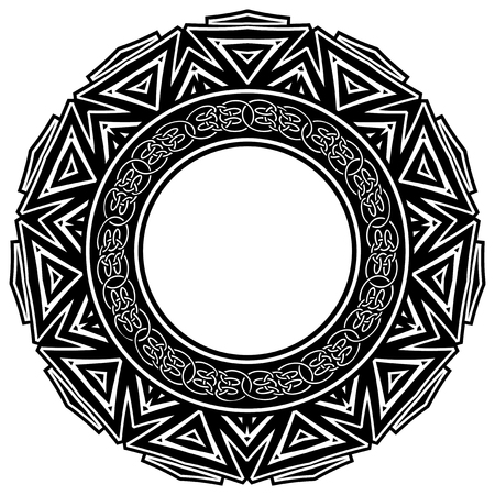 celtic: Abstract vector black and white illustration round beautiful frame with celtic knots. Decorative vintage ethnic mandala pattern. Design element for tattoo or logo.